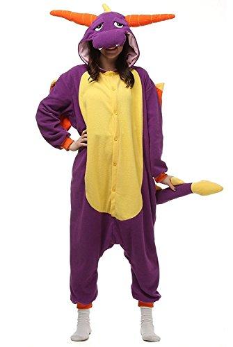 suit Onesie Tier Fasching Karneval Halloween kostüm Erwachsene Unisex Cosplay Schlafanzug- Größe XL -for Höhe 175-181CM, Lila Drache ()