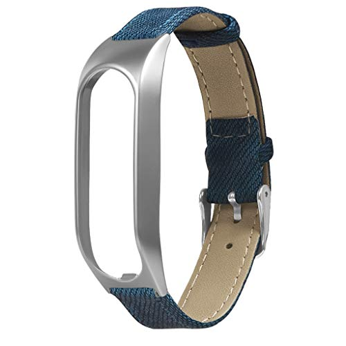 Denim-armband (Für Tomtom Touch Armband,Denim Armbänder Uhrenarmbänder kompatibel Metallgehäuse Schnellspanner SmartWatch Schlaufe Uhrenarmband Smartwatch Ersatzarmband (Silber))