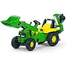 Rolly Toys 811076 - Veicolo a Pedali Junior John Deere, con Ruspa Junior e Escavatore Posteriore