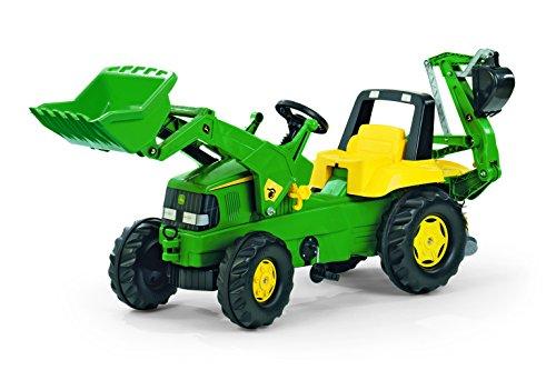 Rolly Toys 811076 Traktor Junior John Deere mit Frontlader rollyJunior Lader, Heckbagger rollyBackhoe, Motorhaube öffenbar, Sitz verstellbar (geeignet für Kinder ab 3 Jahren, Farbe Grün)
