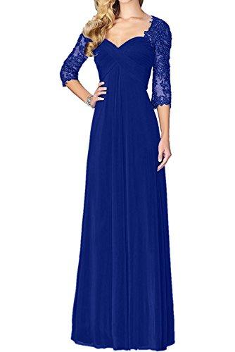 Charmant Damen Blau Gruen Spitze Chiffon lang Abendkleider Partykleider Ballkleider Schmaler Schnitt Bodenlang Royal Blau