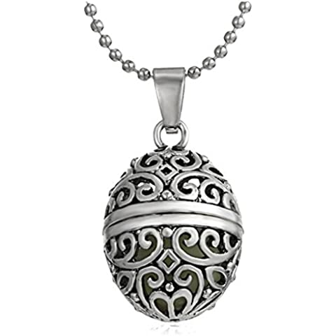 Secreto del invierno Hollow Out Pequeño Ovalado luminoso joyería puede abrir personalidad europa estilo restaurar Ancient collar de aleación