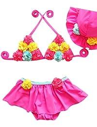 Moollyfox Bikini Niñas Traje de Baño de Dos Piezas Flores Bañador Agradable Tankini con Sombrero Conjunto Infantil para 1 - 8 Años