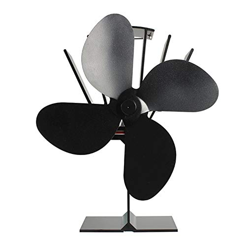 Deylaying 4 Klinge Warme Luft Ofenventilator- Mini Wärmeenergie Leise Kamin-Fanfür Holz/Pellets Brenner