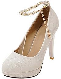 Easemax Damen Elegant Künstliche Perlen Kette Runde Zehen Plateau High Heels Pumps Weiß 39 EU