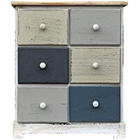 rebecca srl cmoda cajonera cajones madera beige gris blu casa de campo entrada bao