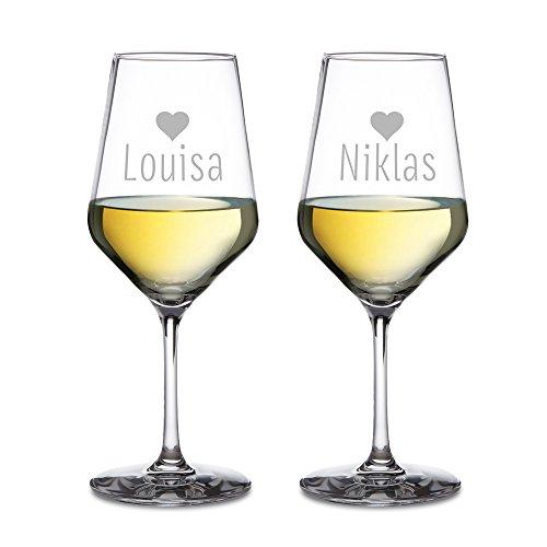 Amavel - Set DE 2 Verres à vin Blanc - Gravure des Coeurs pour Couples - Personnalisés avec [Noms] - Idée Cadeau pour Couples pour Le Mariage ou la Saint Valentin