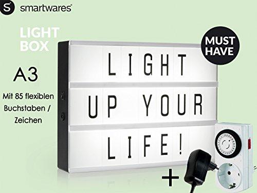Light-Box / Leuchtkasten A3 mit 85 Buchstaben, Deko-Licht-Box + Netzadapter & Zeitschaltuhr