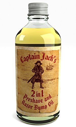 Captain Jack's 2 in 1 Shaving Oil & Razor Bump Oil, Olio da barba e dopo barba, Biologico e natural 100 ml