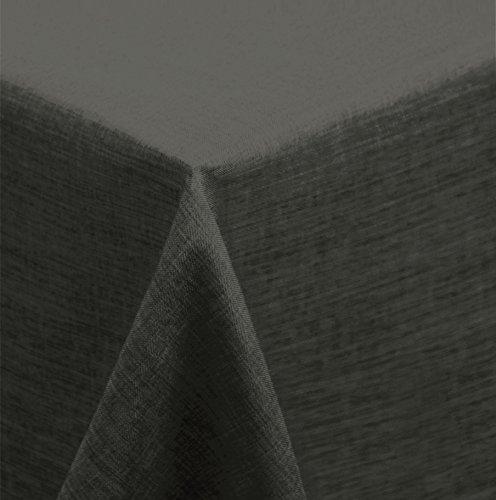Tischdecke 130x220 cm eckig Struktur Leinen-Optik beschichtet Wasser und Schmutz abweisend Lotuseffekt #476 (anthrazit) (Leinen-schwarz Tischdecke)