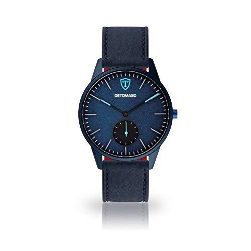 DETOMASO LAMPIONE Men's Quartz Watch Analogue Blue Leather Strap Blue dial DT1083-B-829
