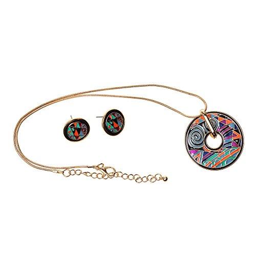 Collier Pendentif Ronde Emaillé avec Paire Boucles d'Oreilles Géométrique Bijoux Parure de Mode -Or #3