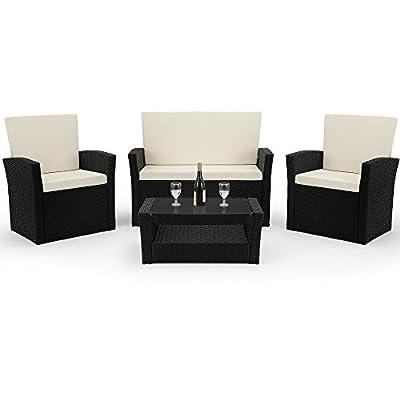 PolyRattan Sitzgruppe Gartenmöbel Lounge SitzgarniturBalkon Sets inklusive Kissen MODELLAUSWAHL von Deuba - Gartenmöbel von Du und Dein Garten