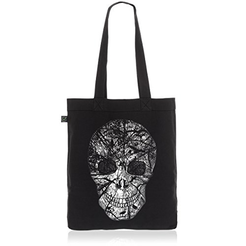 style3 Nature Skull Biobaumwolle Beutel Jutebeutel Tasche Tote Bag Totenkopf Vögel, Farbe:Schwarz -