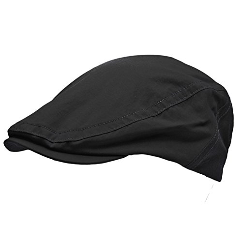 TOSKATOK® MENS SHOWER PROOF WATER RESISTANT FLAT CAP-BLACK