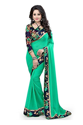 Jaanvi Fashion Women\'s Green Georgette Saree