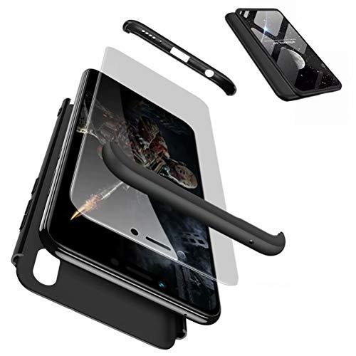 JJWYD Handyhülle für Huawei Honor Play Hülle + Displayschutzfolie Extra Dünn Ultra Slim Leichte Stoßfest Feine Matte Cover Schutzhülle Schale Hardcase - Schwarz