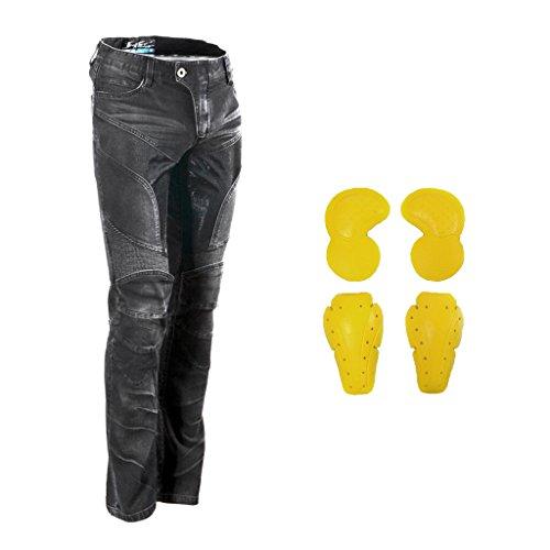 MagiDeal 1 Stück Motorrad Rennhose Jeans Hose Mit Schutzpolster knieprotektor und hüfte protektor - Schwarz XL (Hose Motorrad Jeans)