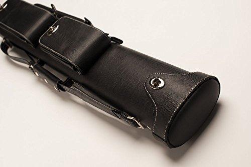 """Cuel Billard-Köcher """"Hustler Black 2/4"""" für Pool-Billard-Queues, schwarz, aus feinem Kunstleder, mit DREI Seitentaschen"""