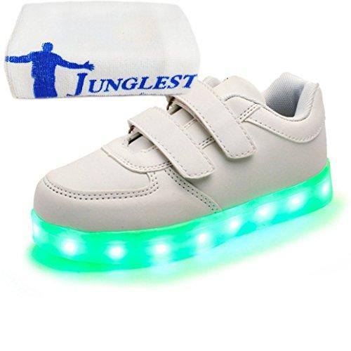 (present: Pequena Toalha) Junglest® Crianças Unissex Led Recarregável Calçados Esportivos Luz Piscando Brilho Luminoso Fica Branco
