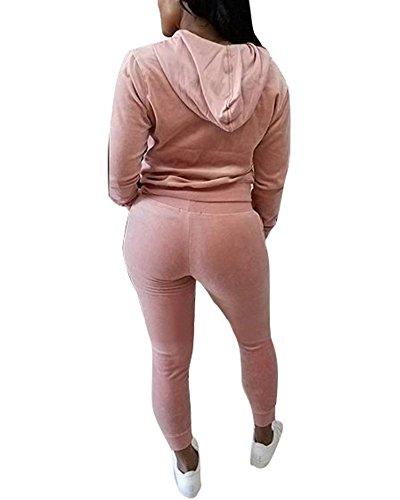 Femmes Casual Survêtements Ensembles Hoodie Sweat-shirt Blouson + Drawstring Jogging Pantalons Survêtement 2 Pièces pink