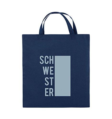 Comedy Bags - SCHWESTER - BLOCK - Jutebeutel - kurze Henkel - 38x42cm - Farbe: Schwarz / Pink Navy / Eisblau