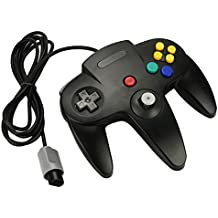 Althemax® Mango N64 Negro Largo control Game Controller Remote Pad Joystick Ajuste para 64 Sistema de Nintendo