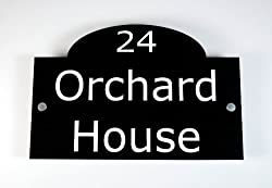 House Number Sign / Plaque Black Acrylic Traditional