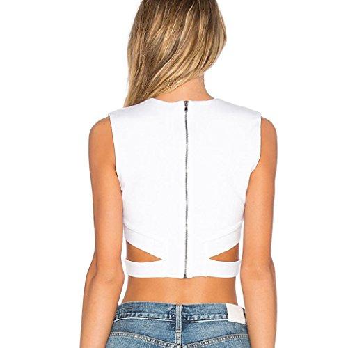 Bekleidung Longra Damen Sipper kurze Weste Gurt gewickelt Brust Shirt Tank Crop Top Bluse White