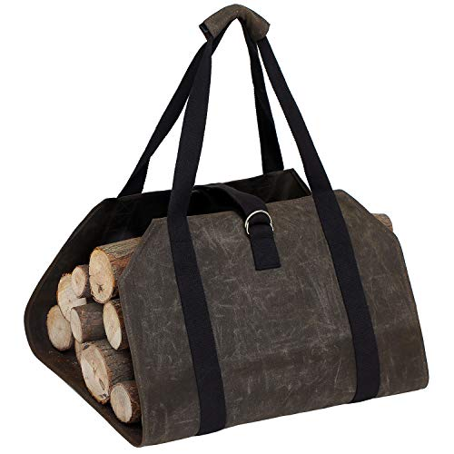 OWNFUN - Bolsa de Transporte para leña (Lona Encerada), diseño de leña