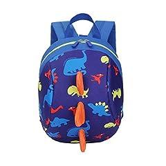 Idea Regalo - DafenQ 3D Carina Dinosauro Zaino per bambini Zaino Kindergarten Sveglio Zaini per Infanzia Ragazze Ragazzi (Blu)