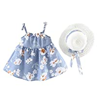 Julhold Infant Baby Girls Summer Leisure Elegant Sleeveless Flower Floral Print Princess Dress+Hat Cap Outfits 0-2 Years