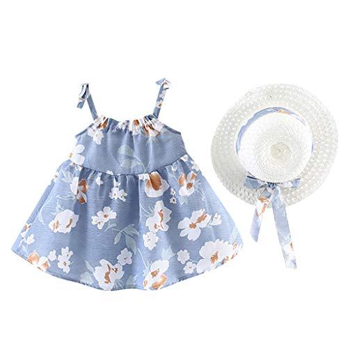 Julhold Infantile Bambino Ragazze Estate Senza Maniche Fiore Stampare Principessa Vestito + Abiti per Cappello 0-2 A