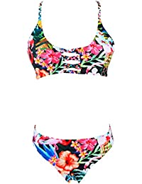 Dissa XLJ002 Rembourrage, sans Armature Femme Maillots de Bain 2 Pièces Bikinis Tankini Imprimé Aztèque,Bleu,S