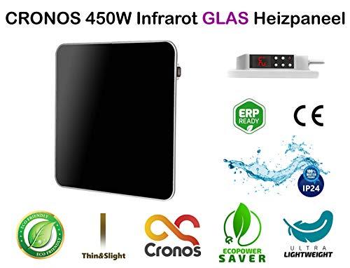 ORIGINAL CRONOS Heizpaneel IR Infrarot 450W Glas Heizung Elektroheizung mit Thermostat - Schutzklasse IP24 - Deutscher Hersteller - Herstellergarantie - CE! Zertifiziert für geprüfte Sicherheit