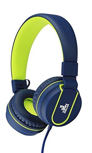NRGized Kopfhörer mit Mikrofon für Reisen, Arbeiten, Kinder, Jugendliche, Laufen, Sport mit Inline-Controller Blau und Gelb
