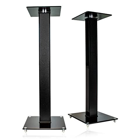 minify Pair of High Gloss Speaker Stands with Decorative Wood Inlay
