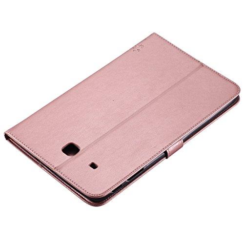Custodia Galaxy Tab E 9.6, Galaxy Tab E 9.6 Flip Case Leather, SainCat Custodia in Pelle Cover per Samsung Galaxy Tab E 9.6 T560/T561, Anti-Scratch Book Style Protettiva Caso PU Leather Flip Portafogl Rose Gold