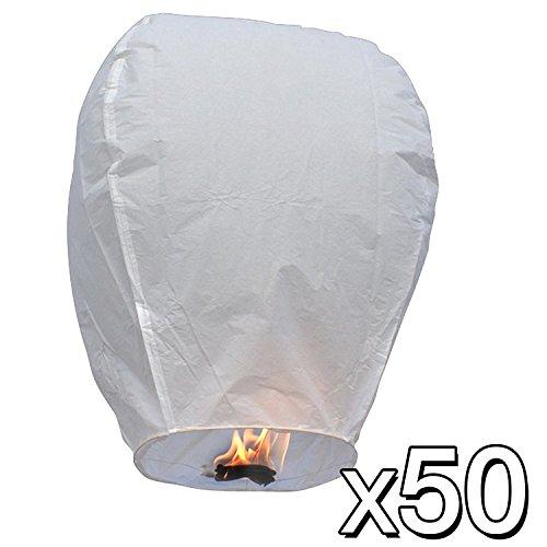 50 Farolillos Volantes Blancos