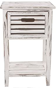 Commode à tiroir Blanc cru, Dim : 57 x 35 x 27 cm -PEGANE-