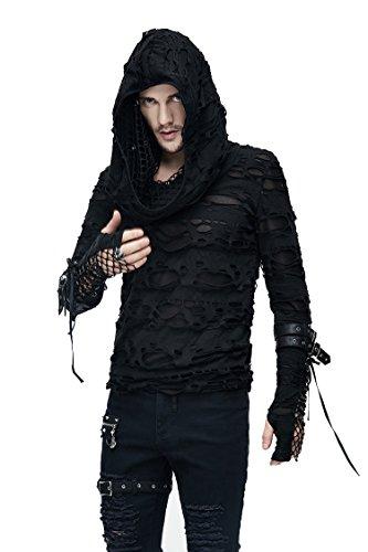 Devil Fashion Gothic Herren Mode Schwarz Löcher Masche Langarmshirt Steampunk Männer Lässig Lange Hülsen Tops Kapuzenpullover ()