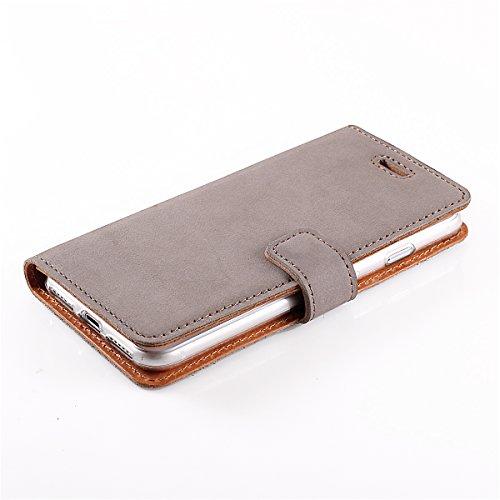 Apple iPhone 5 5s SE Premium Ledertasche Schutzhülle Wallet Case aus Nubukleder mit Kreditkarten / Notizen Fachern (Schwarz) von Surazo® Vintage Kollektion Grau