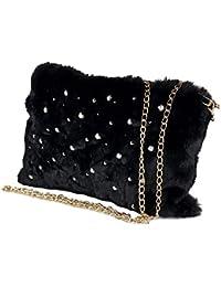 Borsa pelliccia pochette donna con tracolla e perline per ragazza piccola  eco pelliccia elegante da sera d722cd433ec
