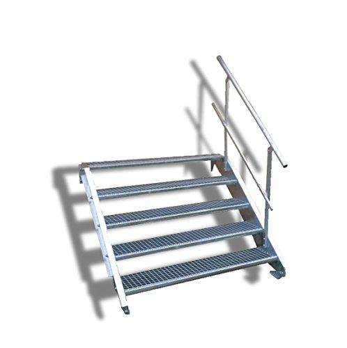 N&H Systeme 5-stufige Stahltreppe mit einseitigem Geländer / Breite: 100 cm / Wangentreppe mit 5 Stufen / Inklusive Zubehör / Robuste Außentreppe Stabile Industrietreppe für den Außenbereich