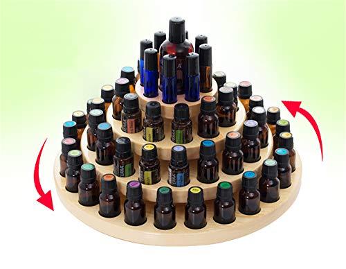PhantomSky 63 Löcher Holz Organizer Ätherisches Öl und Aromatherapie Display Regal Halter Ätherische Öle Flaschen Aufbewahrung Geschenk-Box - Geeignet für Duftöle, Ätherisches Ölen -