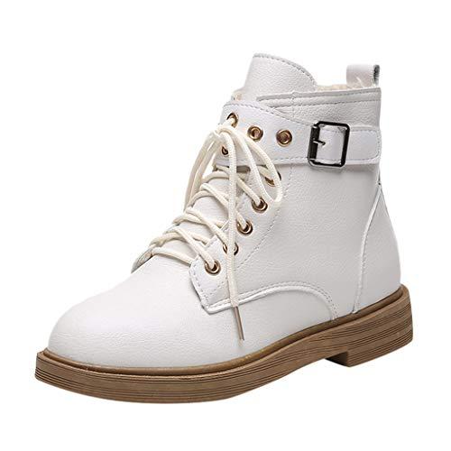 NPRADLA Frauen Schnee Stiefel Winter Strap Warm Verdicken Schnalle Bootie Cowboy Plattform Schnürstiefel Mädchen Künstliche Wolle Schuhe(CN 38,Weiß-2) -