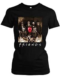 Friends Horror Damen Girlie T-Shirt | Horror Halloween Nightmare Freddy Michael Myers Jason Clown