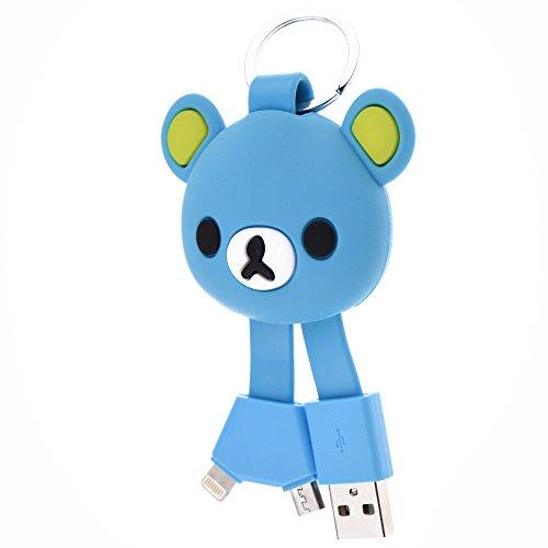 Belons lovely Bear silicone Key Chain 2-in-1Lightning e micro USB di ricarica e cavo dati cavo di sincronizzazione per iPhone e dispositivi Android Di stile Yellow Multi-5 Pack