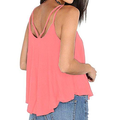 DINGANG® Damen V-Ausschnitt Strappy Cami Trägershirt Weste Camisole Ärmelloses Lose Bluse T-Shirt Oberteile Rosa