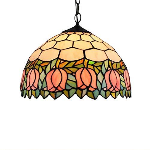 Kreative Pendelleuchten, Tiffany-Stil-Kronleuchter, 12-Zoll-amerikanische pastorale Tulpe/Glasmalerei-Pendentlampe, Kunst-Hängelampe für Bar-Restaurant -